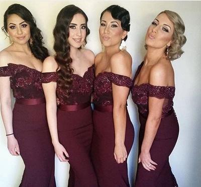 Elegant Off-the-shoulder Mermaid Lace Bridesmaid Dress UK Sweep Train JT144_3
