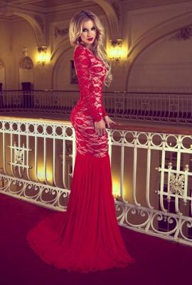 Elegant Red Long Sleeve Lace Prom Dress UKes UK Mermaid Long_1