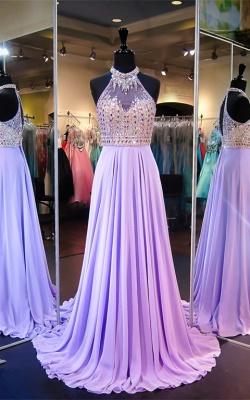 Modern Halter Crystals Evening Dress UK Chiffon Sleeveless A-line Sweep Train_1