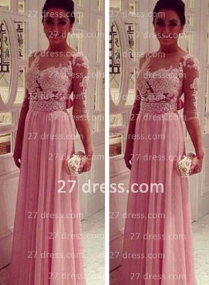 Lace Pink Empire Slim Evening Dress UKes UK Tulle Back Transparent Floor Length Prom Dress UKes UK With Knotbot & 1/3 Long Sleeve_2