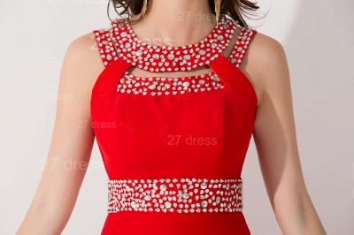 Elegant Red Front Split Evening Dress UK Crystals Sweep Train_5