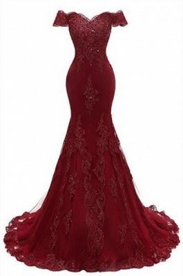 Luxury Burgundy Prom Dress UK | Mermaid Lace Evening Gowns_1