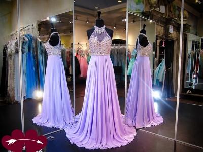 Modern Halter Crystals Evening Dress UK Chiffon Sleeveless A-line Sweep Train_3