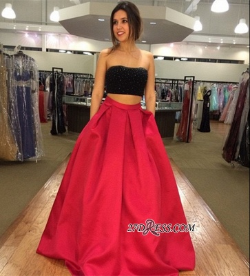 Two-Piece Strapless Sleeveless A-line Modest Prom Dress UK_2