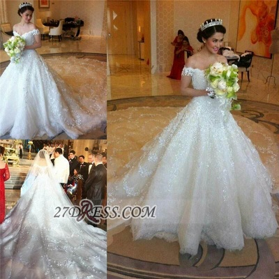Elegant Off-shoulder Tulle Wedding Dress Ball Gown With Lace Appliques_2
