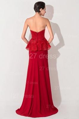 Red Sweetheart Sleeveless Evening Dress UK Front Split_4