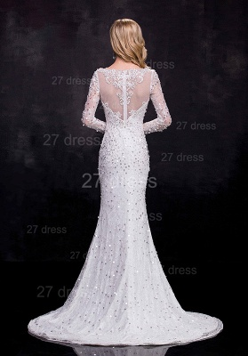Delicate Long Sleeve Beadss Crystals Wedding Dress Sexy Mermaid Sweep Train_3