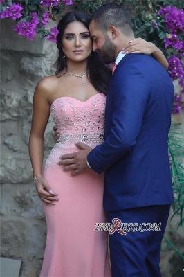 Pretty Pink Sweetheart Mermaid Beads Sleeveless Crystals Sequins Evening Dress UK BA6735_2