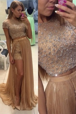 Stunning Two Pieces Prom Dress UKes UK Beadings Short Sleeve Split Party Gowns_1