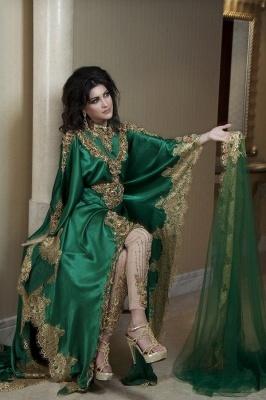 Lace Satin Green Arabic Kaftan Prom Dress UKes UK Long Sleeves Gold Applique Abaya Dubai Evening Gowns_2