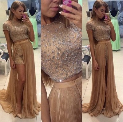 Stunning Two Pieces Prom Dress UKes UK Beadings Short Sleeve Split Party Gowns_3