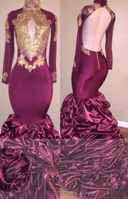Burgundy Mermaid Prom Dress UK | Gold Appliques Party Dress UK_1
