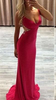 Modern Red Crystals Mermaid Prom Dress UK Sweep Train Zipper_1
