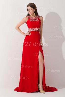 Elegant Red Front Split Evening Dress UK Crystals Sweep Train_1