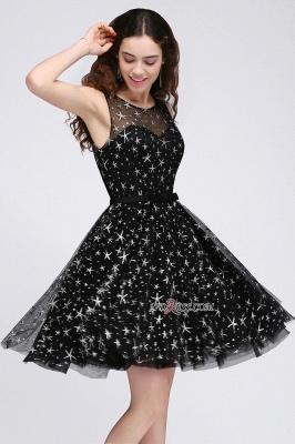 A-line Sash Illusion Zipper Modest Short Sleeveless Homecoming Dress UK_4