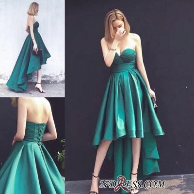 Lace-up Sweetheart Hot Asymmetrical Hi-Lo Sleeveless Ruffles Evening Gown_1