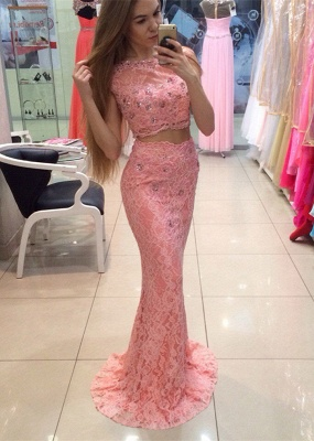 Chic Two Piece Lace Prom Dress UK Mermaid Crystal Long Party Dress UK_1