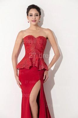 Red Sweetheart Sleeveless Evening Dress UK Front Split_2