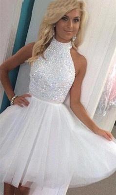 Newest White Halter Beading Homecoming Dress UK Mini Sleeveless Zipper_1