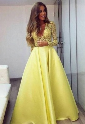 Stunning Yellow Long Sleeve Prom Dress UK V-Neck Lace BA3130_2