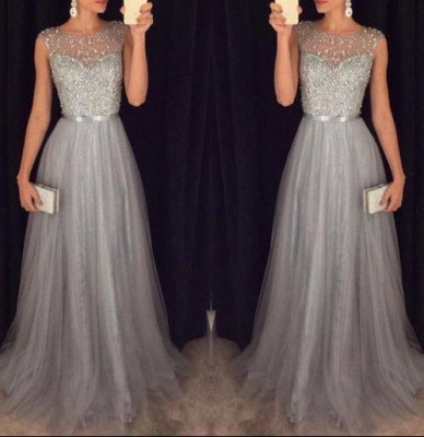Sexy Sparkly Tulle Grey A-line Sequins Beaded Sleeveless Evening Dress UKes UK AP0 BA3163_1