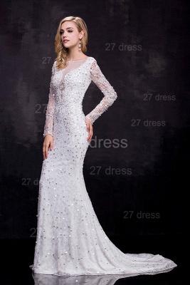 Delicate Long Sleeve Beadss Crystals Wedding Dress Sexy Mermaid Sweep Train_2