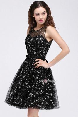 A-line Sash Illusion Zipper Modest Short Sleeveless Homecoming Dress UK_6