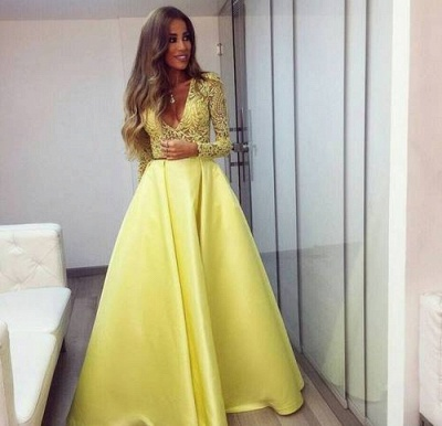 Stunning Yellow Long Sleeve Prom Dress UK V-Neck Lace BA3130_4