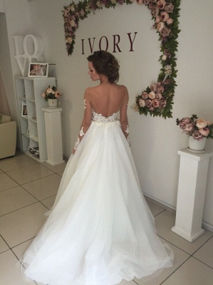Elegant Off-the-shoulder Lace Appliques Wedding Dress Long Sleeve Tulle BA9085_4