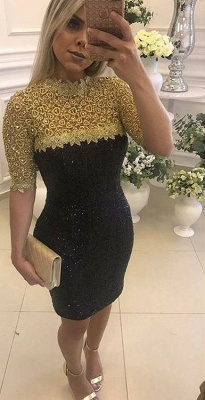 Half-Sleeve Mermaid Short Prom Dress UK   Sequins Homecoming Dress UK_1