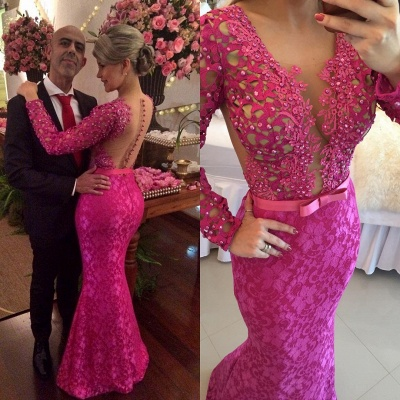 Stunning Long Sleeve Lace Evening Dress UK Pearls Mermaid Prom Gown BT0 BA6734_3