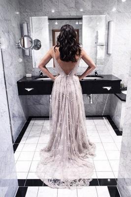 Elegant Spaghetti Strap Lace Prom Dress UK Open Back Sweep Train_1