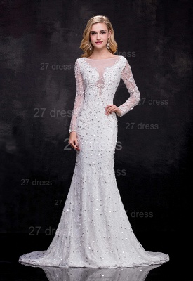 Delicate Long Sleeve Beadss Crystals Wedding Dress Sexy Mermaid Sweep Train_1