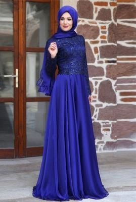 Newest Appliques Chiffon A-line Evening Dress UK Long Sleeve Zipper_1