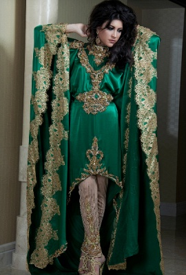 Lace Satin Green Arabic Kaftan Prom Dress UKes UK Long Sleeves Gold Applique Abaya Dubai Evening Gowns_1