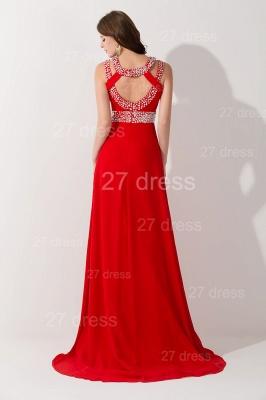 Elegant Red Front Split Evening Dress UK Crystals Sweep Train_3