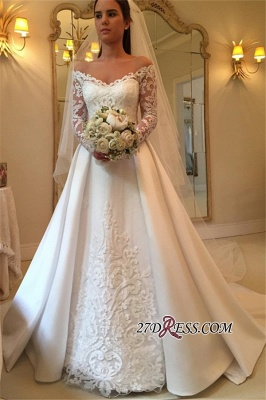 A-Line Off-the-Shoulder Detachable-Train Long-Sleeves Newest Wedding Dresses UK_3