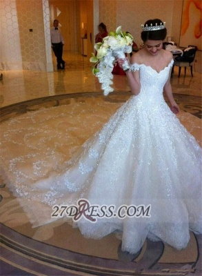 Elegant Off-shoulder Tulle Wedding Dress Ball Gown With Lace Appliques_4