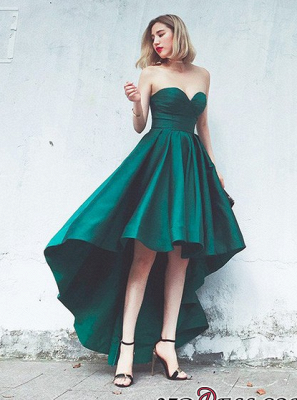 Lace-up Sweetheart Hot Asymmetrical Hi-Lo Sleeveless Ruffles Evening Gown_2