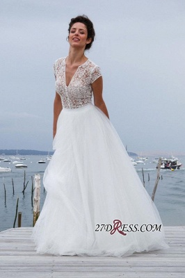 Tulle Simple Short-Sleeves A-line V-neck Chic Wedding Dress_4