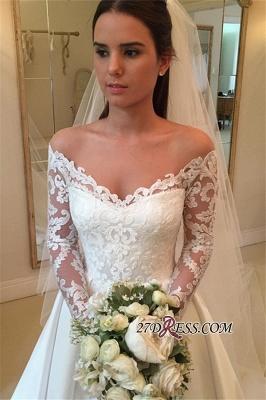 A-Line Off-the-Shoulder Detachable-Train Long-Sleeves Newest Wedding Dresses UK_2