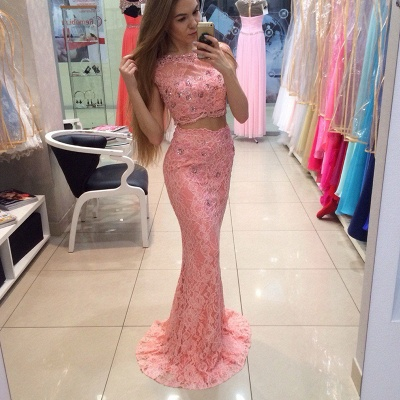 Chic Two Piece Lace Prom Dress UK Mermaid Crystal Long Party Dress UK_3