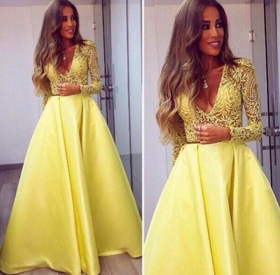 Stunning Yellow Long Sleeve Prom Dress UK V-Neck Lace BA3130_3