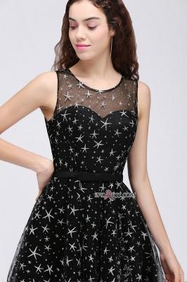 A-line Sash Illusion Zipper Modest Short Sleeveless Homecoming Dress UK_2