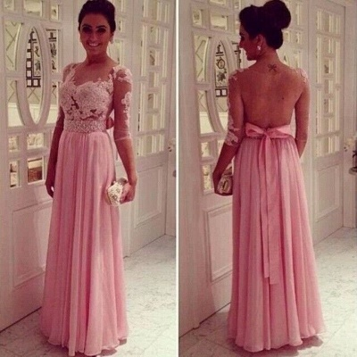 Lace Pink Empire Slim Evening Dress UKes UK Tulle Back Transparent Floor Length Prom Dress UKes UK With Knotbot & 1/3 Long Sleeve_3