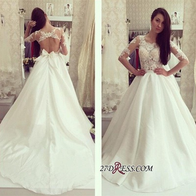 A-line Bow Sweep-train Elegant Half-sleeves Sweep-train Wedding Dress_3