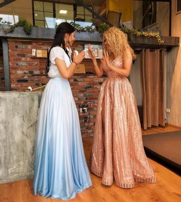 Elegant V-Neck Long Evening Dress UK | 2019 Sequins Prom Dress UK With Slit_4