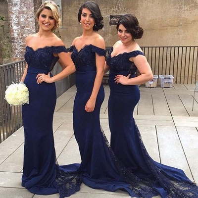 Elegant Off-the-shoulder Mermaid Lace Bridesmaid Dress UK Sweep Train JT144_4