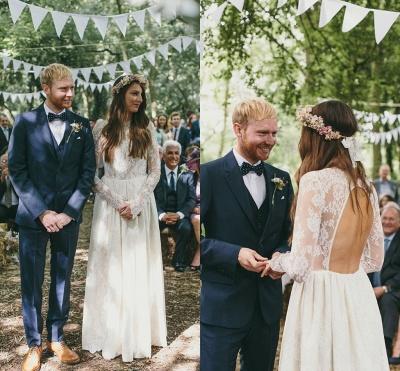 Elegant Long Sleeve Halter Wedding Dress Lace Open Back_6