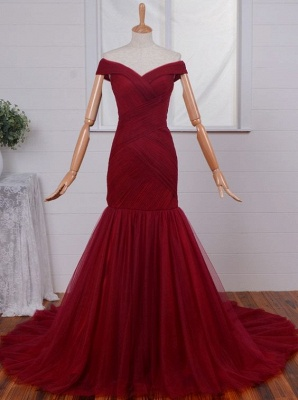Gorgeous Off-the-Shoulder Mermaid Evening Dress UKes UK Tulle Burgundy BA4225_1